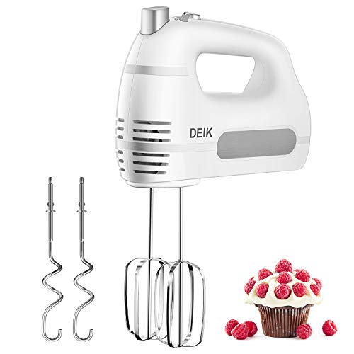 Deik Electric Hand Mixer,6-Speed 250W Hand Mixer Electric – Hand Held Mixer Includes 2 Stainless Steel Beaters and 2 Dough Hooks, Turbo Button, One Button Eject Design, White