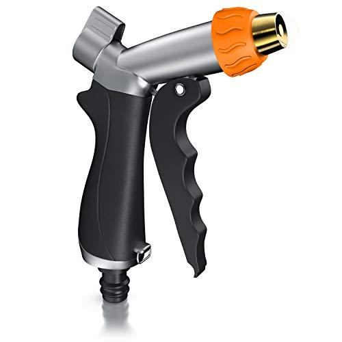 Brandson – Pistola da Giardino – Regolazione Portata piú Ghiera Regola spruzzo – Ugello in Ottone – Corpo in Metallo – Impugnatura in Gomma – Sicura blocca grilletto – Ugello per TuboFino – a 170 psi