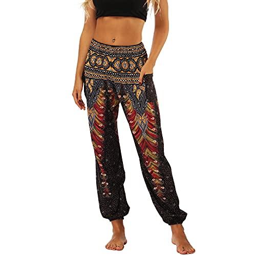 Lu's Chic Women's Boho Pants Harem Smocked Waist Yoga Hippie Palazzo Summer Beach Pants Pattern4 One Size