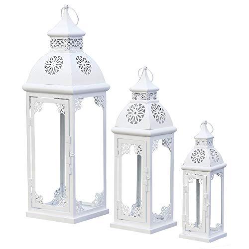 Grafelstein Set da 3 Pezzi. Lanterna Mara Bianca in Metallo con Decorazioni (3 Misure)