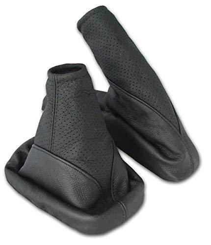 L&P A099-1 Kit Soufflet Sac Manchette manchon de commutation 100% cuir véritable veritable noir noire couture fil noir et frein à a main stationnement parking transmission manuelle boîte boite vitesse vitesses changement vitesse perforé perfore