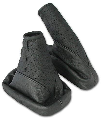 L&P A099-1 Funda saco cuero de 100% real piel genuina negro perforado con costura negra de palanca de cambios cambio velocidad velocidades marchas saco de conmutación y freno de mano estacionamiento