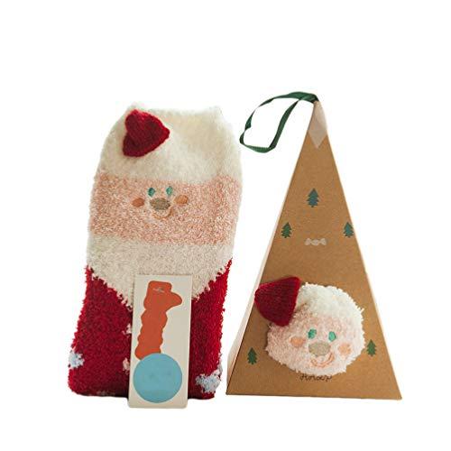 STOBOK 2 Paires de Chaussettes de Noël Chaussettes de Santa Mignonnes Santa Hiver Chaussettes Chaudes Chaussettes de Sol pour Les Enfants