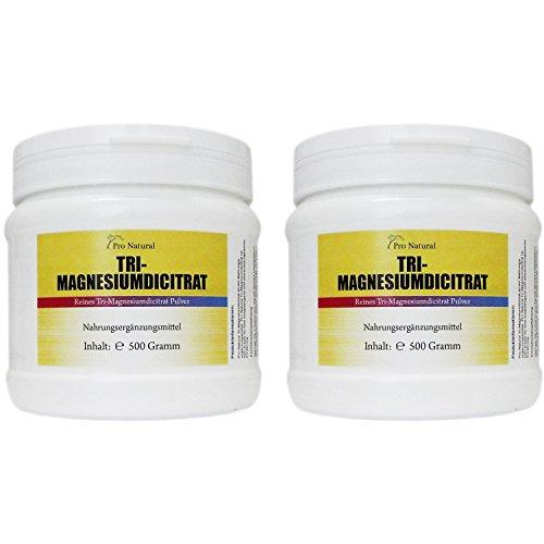 Magnesium Citrat 1kg veganes Pulver hochwertiges Tri-Magnesiumdicitrat wasserfrei (2 mal 500g)