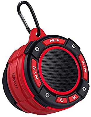 Zermatt IPX7 Waterproof Portable Wireless Bluetooth Speaker with Light Show,Suction Cup & Sturdy Hook,Lound HD Sound,TWS Stereo Pairing,Bluetooth V5.0,Perfect for Camping,Beach, Sports,Pool,Shower-Red