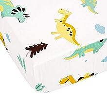 TEALP Bebés niños Sábana Bajera Ajustable, algodón, Dinosaurio, 60 x 120 cm - 70 x 140 cm, 1 pieza