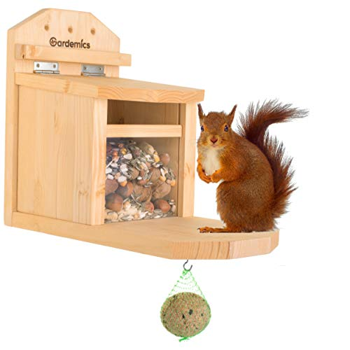 Gardemics® Eichhörnchen Futterhaus wetterfest - Extra Robustes Futterhaus für Eichhörnchen - Fertigung in sozialer Werkstatt - Made in Germany