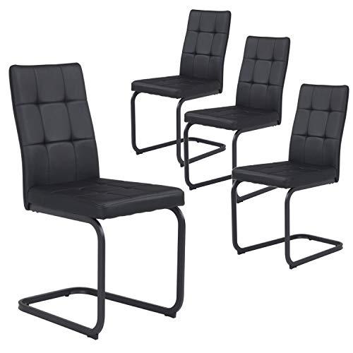 B&D home - Esszimmerstühle 4er Set | Vintage freischwinger Stühle | Kunstleder schwarz
