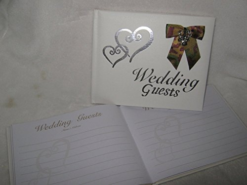 Wedding Ceremony Silver Hearts Camo Redneck Deer Hunter Guest Book