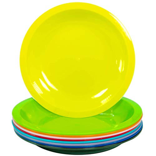 Youngever 7.5 Inch Plastic Plates, Small/Kid Size, Kids Plates, Toddler Plates, Snack Plates, Microwave Safe, Dishwasher Safe, Set of 9 in 9 Assorted Colors