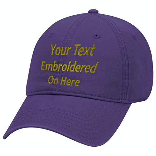 Custom Text Embroidered Dad Hat Unstructured Adjustable Metal Buckle (Purple Dad Hat)
