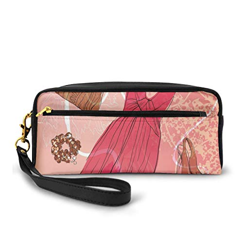 Pencil Case Pen Bag Pouch Stationary,Spring Inspired Floral Abstract Backdrop Pink Dress Shoes Bracelet,Small Makeup Bag Coin Purse