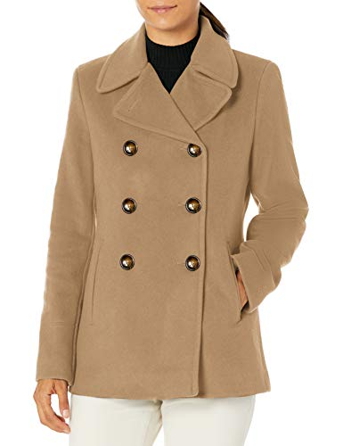 Calvin Klein Petite Womens Double Breasted Peacoat, CAM, 12P