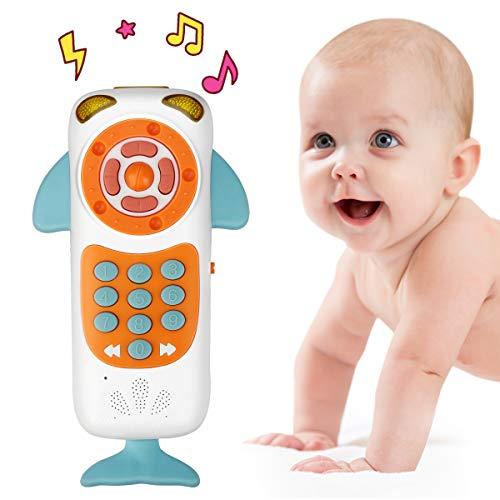 Laelr Control Remoto Juguetes Musicales Pantalla táctil Aprendizaje Teléfono Juguetes Aprendizaje Educativo temprano Juguetes Diseño de Ballenas para bebés niños (Blanco)
