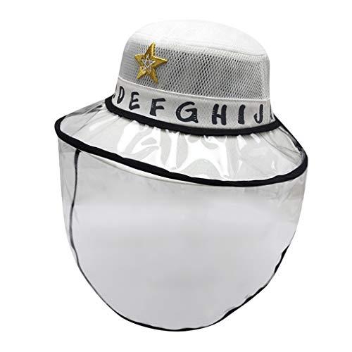 2-8 Anni Cappello Protettivo Facciale Bambini con Visiera Rimovibile Estivo Bambino Bambine Berretto Lettera con Cover Trasparente per Anti-sputi Anti-UV Hat Protezione Solare (Bianco)