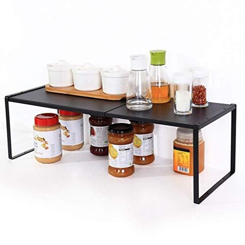 ZXL@ED Organizador de estantes de cocina multifuncional de pie, gabinetes de condimento Racks escalonados/Negro/Medium