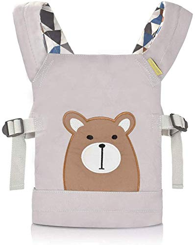 Cuby Puppe Tragetuch Rucksack, Vorder- und Rückseite Toy Sling, tragbares Design für Platzieren Sie das Spielzeug, geeignet für kleine Jungen oder Mädchen. (Grauer Bär) (Grauer Bär)