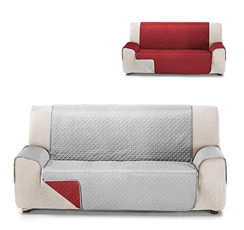 Cardenal Textil RUBÍ Cubre Sofa Bicolor Reversible, Rojo/Perla, 3 Plazas