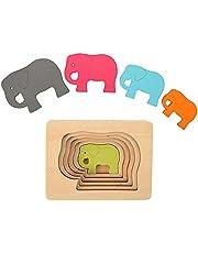 Herefun Jouet Puzzle en Bois Enfant, Bébé Jouets Montessori, 3D Puzzles Jouets Educatif avec Animals Styles, Jouet Puzzle à Encastrements pour Noël Anniversaire Cadeaux pour Enfant