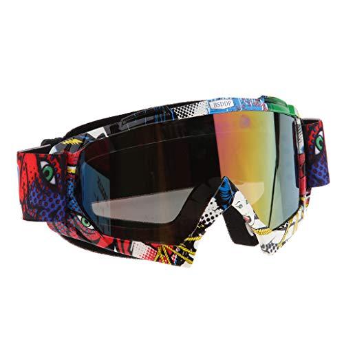 Mascherina Occhiali Motocross Enduro Sci Snowboard Antivento Antipolvere Antigraffio - A016 Specchio colorato