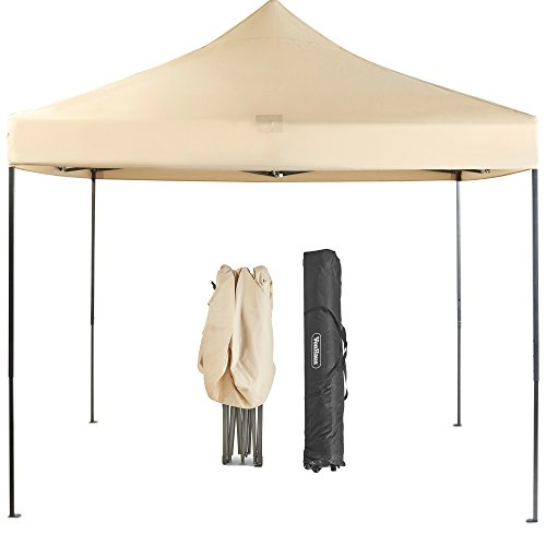 VonHaus Premium Fully Waterproof Gazebo 3x3m with Leg Weights and Wheeled Carry Bag - Outdoor Garden Marquee with Telescopic Legs - Ivory