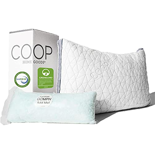 Coop Home Goods Eden Bed Pillow for Sleeping - Plush and Luxurious Cross-Cut Memory Foam Pillow with Lulltra Washable Cover from Bamboo Derived Rayon - CertiPUR-US/GREENGUARD Gold Certified - King