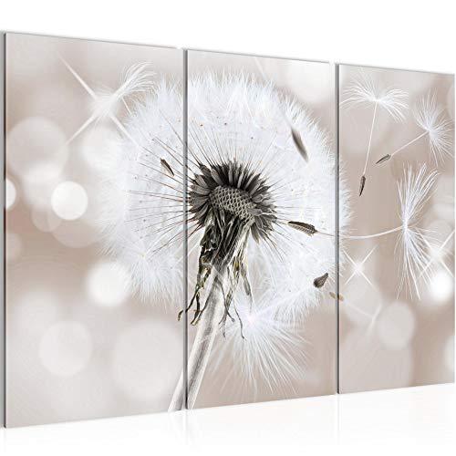 Bilder Blumen Pusteblume Wandbild 120 x 80 cm Vlies - Leinwand Bild XXL Format Wandbilder Wohnzimmer Wohnung Deko Kunstdrucke Braun 3 Teilig - MADE IN GERMANY - Fertig zum Aufhängen 211231b