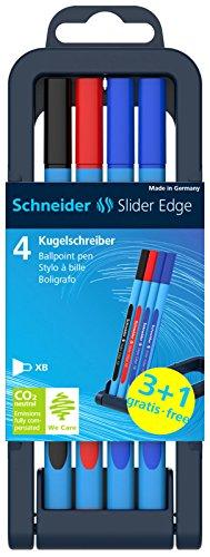 Schneider Schreibgeräte Kugelschreiber Slider Edge XB, Stiftebox 4 St. Aktion 3+1