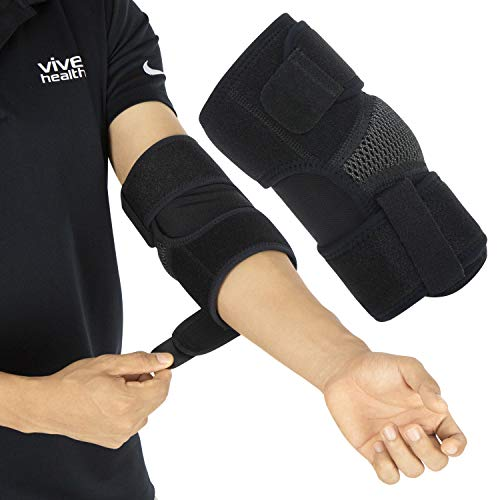 Vive Elbow Brace - Tennis Compression Sleeve - Wrap for Golfers, Bursitis, Left or Right Arm - Tendonitis Support Strap for Golf, Men and Women - Epicondylitis and Sports Recovery Pain Relief