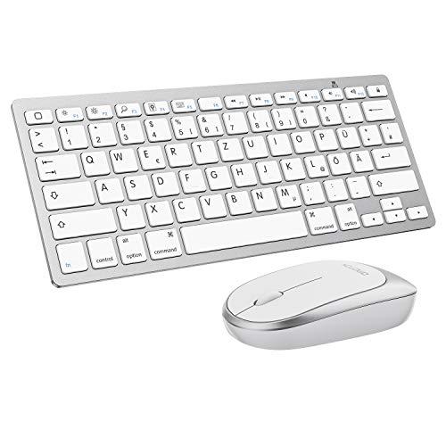 OMOTON Bluetooth Tastatur Maus Set für iPad 8 2020, iPad 10.2 Zoll (2019/2020), iPad 2018/2017,iPad 87/6/5/4,iPad Air3/ 2,iPad Pro 10.5,iPad Mini 5/4, iPad Pro 12.9 und iPhone, QWERTZ Layout, Weiß