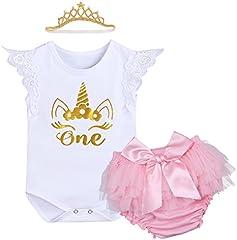 IWEMEK Bebé Niñas Primer Cumpleaños Princesa Unicornio Trajes de Fiesta