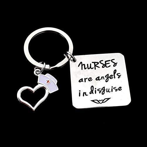 MINTUAN Las Enfermeras Son ngeles disfrazados Llavero Colgante de Acero Inoxidable Llavero Regalos del da de la Enfermera