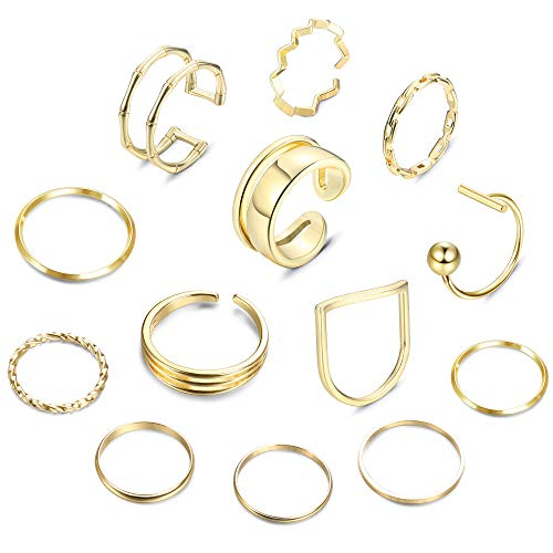 Adramata Simple Knuckle Stackable Rings Set for Women 14K Gold Plated Minimalist Dainty Joint Midi Finger Rings Set 12-13pcs