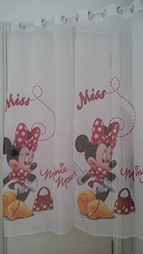Lot de 2 voilages Disney Minnie Mousse-Rouge Largeur 75 cm x Chute 150 cm 59 œillets