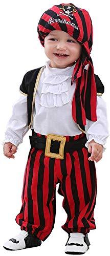 ANGELCITY 子供用 仮装 セット ハロウィン ベビー 衣装 カボチャ 吸 血鬼 海賊 コスチューム ベビー ドラキュラ パンプキン コスプレ 女 の子 男の子 魔法使い 赤ちゃん パーティー 変装 かぼちゃ 撮影記念 A2120 (90cm, 海賊