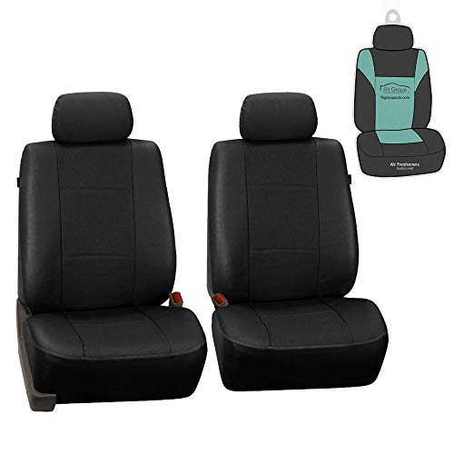 FH Group PU007102 Deluxe Leatherette Front Set Seat Covers, Airbag Compatible, Black Color w. Gift- Fit Most Car, Truck, SUV, or Van