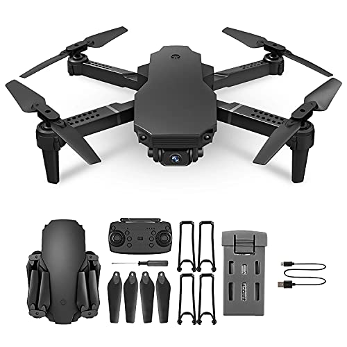 Mini RC Drone 4K Professional Dual HD Cámara de HD 2.4G One-Tecny Devolucionar Altitud Holding 360 Roll Foldable Quadcopter, Mantener de altitud, Modo sin Cabeza,Negro,1 Battery Pcs