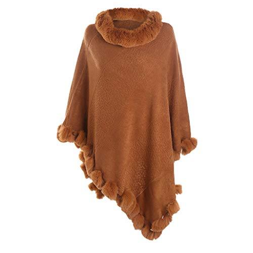 TIFIY Damen Schal Mode reine Farbe Wolle Kragen Abdeckung Kopf breiten Saum Ball Nachahmung Kaschmir Schal Weich Warm Bequem Basic Schal Braun