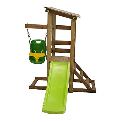 MASGAMES | Mi Primer Parque Infantil Kilauea | Columpio con Silla de bebé | Casita de Madera elevada con tobogán | para niños de 1 a 4 años | Madera tratada para el Exterior |