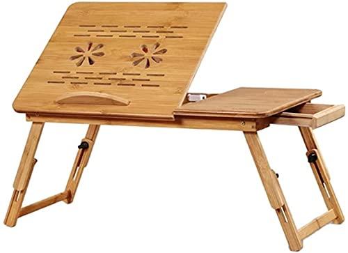 VTAMIN Escritorio de la computadora de la cama, mesa de elevación plegable simple del dormitorio, mesa perezosa del estudiante de enfriamiento, con cajón, patas ajustables, para viajes de oficina en c