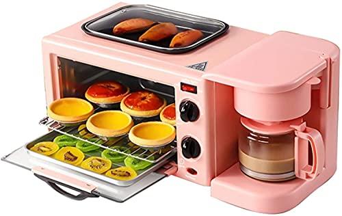 YUEDAI Toaster Horno 9L Mini Horno Hogar Multifuncional Tres-en uno Máquina de Desayuno de Tres en uno Electric Horno Café Tortilla Máquina de Pan Toaste (Color : Pink, Size : Set Meal 2)