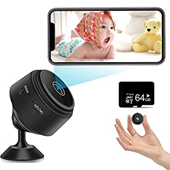 Mini Spy Camera 1080P Hidden Camera  Include a 64G SD Card  with Audio and Video Live Feed WiFi Wireless Cameras 1080P HD Nanny Cam with Night Vision Motion Detection for Home Bathroom Car