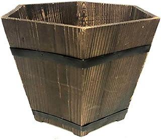 Wooden Pot Planter 27.5cm height 36.5cm diameter Indoor Outdoor garden decor
