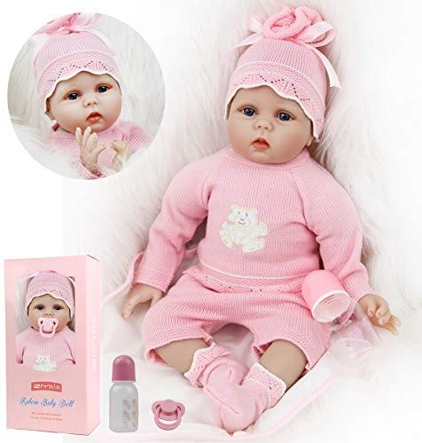 ZIYIUI Bambole Reborn Originali 22 Pollici 55 cm in Silicone Morbido Vinile Bambole Reborn Femmine Bambole Che Sembrano Vere Realistico Bambola Rosa Giocattolo per bambini