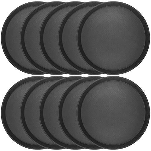 10 x WELLGRO® Gastro Tablett - Ø 35 cm rund, schwarz - antirutsch Kellnertablett Set - Serviertablett - Gastrotablett - Gläsertablett