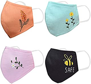 KUNDAN Pure Cotton Hand Painted Reusable Washable Anti Pollution 3 Layer Face Mask (Pack Of 4 Mask)