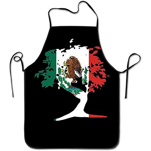 Mesllings - Delantal de Cocina con Cuello Ajustable, diseño de árbol bonsái japonés Mexicano, para Mujer y Hombre