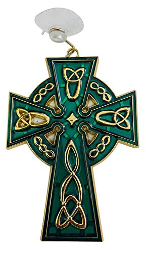 Celtic Cross Suncatcher Irish Sun Catcher Window Decoration with Suction Cup and Hook, 4 1/2 Inches