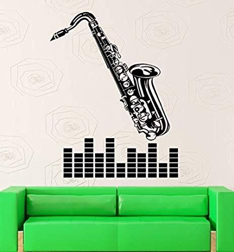Muursticker Muursticker Vinyl Decal Muziek Saxofoon Muzikaal Instrument Jazz Blues 57X74
