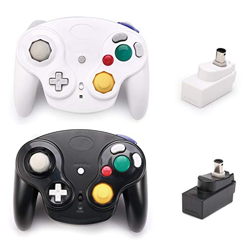 Poulep 2 Packs Classic 2.4G Wireless Controllers Gamepad with Receiver Adapter for Wii U Gamecube NGC GC (Black and White)